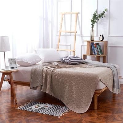 2018新款盖毯系列 天蚕丝纱布毯-树叶 深咖 150*200 深咖