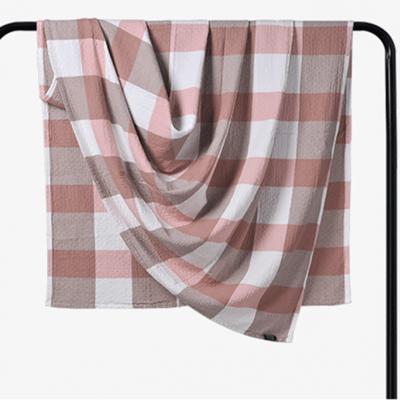 2018新款 水洗棉毯(总) 150*200cm 大格 粉