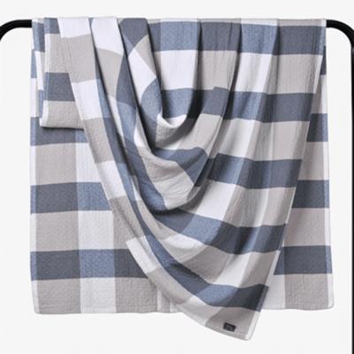 2018新款 水洗棉毯(总) 150*200cm 大格 蓝