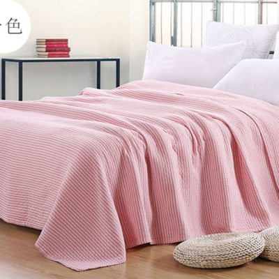 2018新款 水洗棉毯(总) 150*200cm 条纹 粉