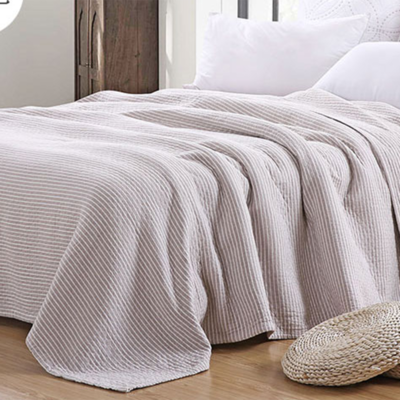 2018新款 水洗棉毯(总) 150*200cm 条纹 咖