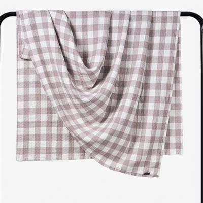 2018新款 水洗棉毯(总) 150*200cm 小格 咖