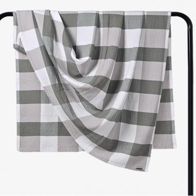 2018新款 水洗棉毯 大格 绿 150*200cm 绿