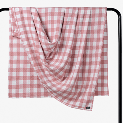 2018新款 水洗棉毯 小格 粉 150*200cm 粉