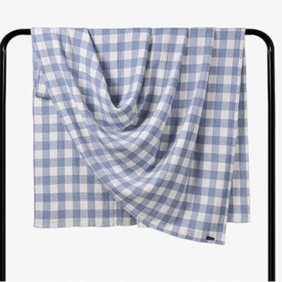 2018新款 水洗棉毯 小格 蓝 150*200cm 蓝