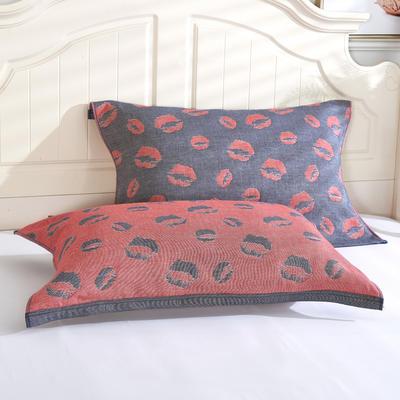 枕巾枕头 四层起皱枕巾5-78CM  红唇仔蓝 仔蓝