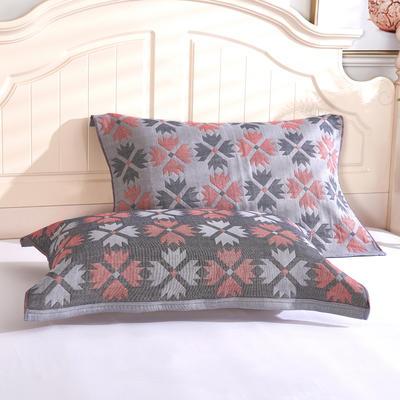 枕巾枕头 四层起皱枕巾5-78CM  四叶草灰 四叶草灰