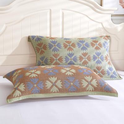 枕巾枕头 四层起皱枕巾5-78CM  四叶草绿 四叶草绿