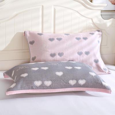 枕巾枕头 四层起皱枕巾5-78CM  桃心粉 桃心 粉