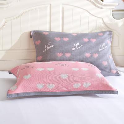 枕巾枕头 四层起皱枕巾5-78CM  桃心灰 灰