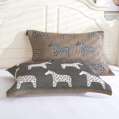 枕巾枕头 四层起皱枕巾5-78CM  小马咖啡 小马 咖啡