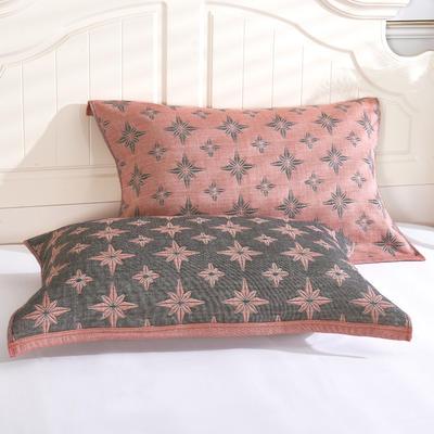 枕巾枕头 四层起皱枕巾5-78CM  星钻砖红 砖红