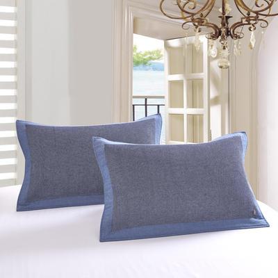 包边华夫格枕巾52-78cm-蓝 蓝/一对