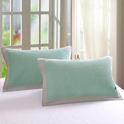 包边华夫格枕巾52-78cm-绿 绿/一对