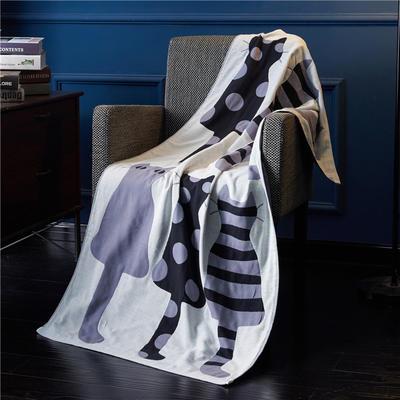 三层浴巾深色背景-猫 70*140cm 灰蓝