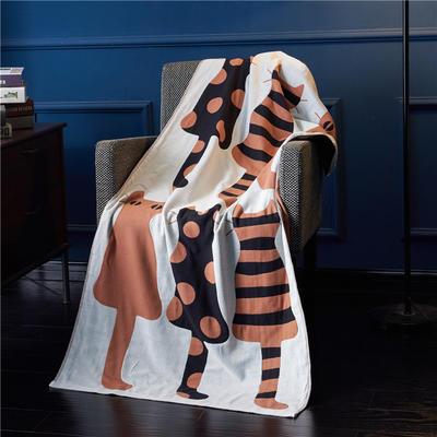 三层浴巾深色背景-猫 70*140cm 咖啡
