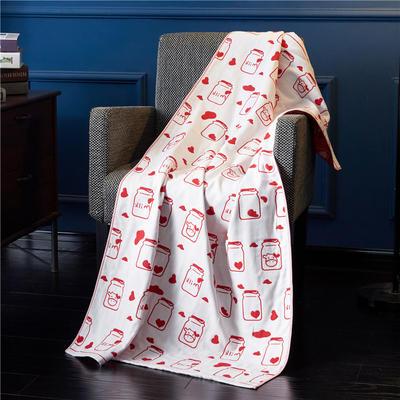 三层浴巾深色背景-奶瓶 70*140cm 红