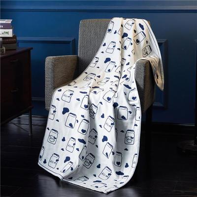 三层浴巾深色背景-奶瓶 70*140cm 蓝
