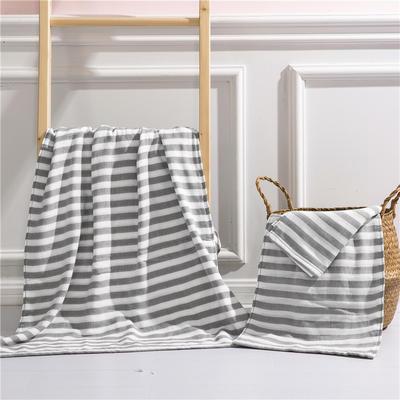 2018新款四层毛巾浴巾-海军条纹 海军条纹-灰(浴巾)
