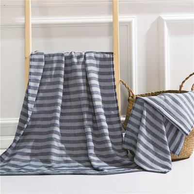 2018新款四层毛巾浴巾-海军条纹 海军条纹-兰(浴巾)