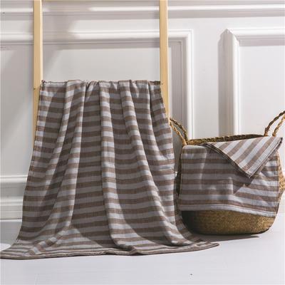 2018新款四层毛巾浴巾-海军条纹 海军条纹-棕(毛巾)