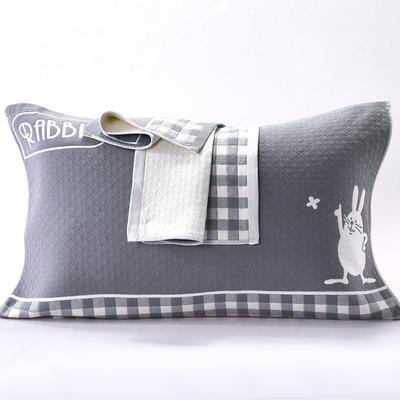 2018新款三层纱布枕巾 52*78cm 小兔-黑
