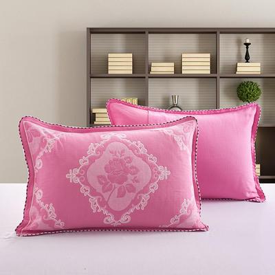 2018新款纯棉纱布枕套 50cmx75cm 玫瑰-粉