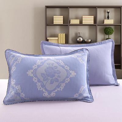 2018新款纯棉纱布枕套 50cmx75cm 玫瑰-蓝