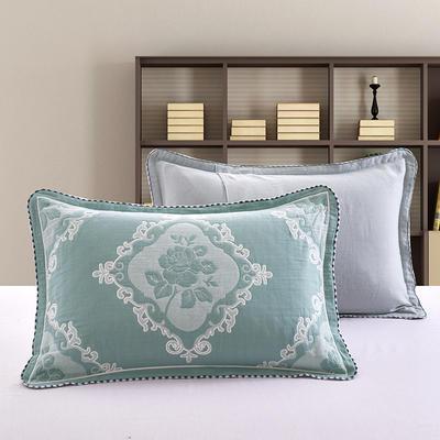 2018新款纯棉纱布枕套 50cmx75cm 玫瑰-绿