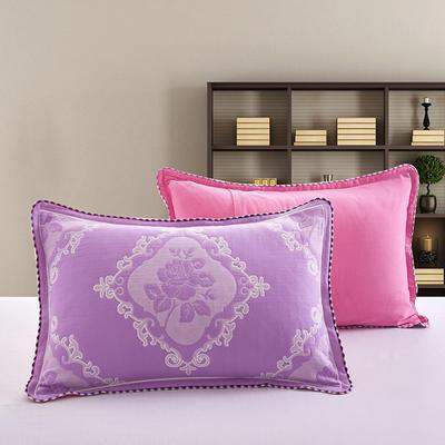 2018新款纯棉纱布枕套 50cmx75cm 玫瑰-紫