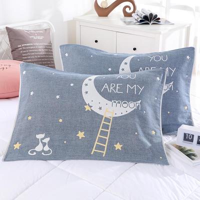 2019新款ab枕巾-52*78cm 月亮猫 蓝