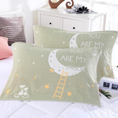 2019新款ab枕巾-52*78cm 月亮猫 绿