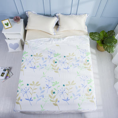 2019新款亲肤竹纤维冷感毯 150cmx200cm 咖蓝橄榄枝