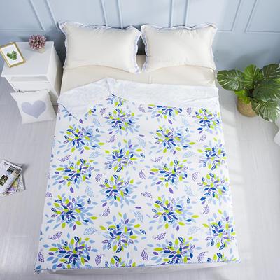 2019新款亲肤竹纤维冷感毯 150cmx200cm 蓝绿卷草