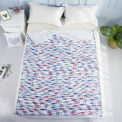 2019新款亲肤竹纤维冷感毯 150cmx200cm 篮红鱼