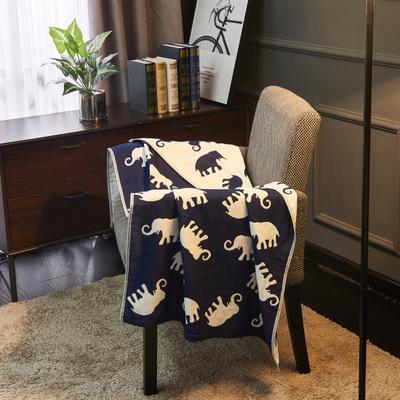 三层浴巾深色背景大象 卡其 70*140cm 大象兰