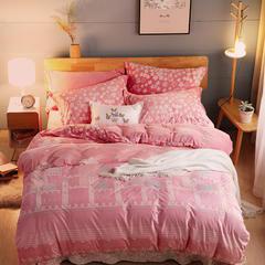 2018新款雕花绒四件套 1.8m(6英尺)床 城堡-粉色