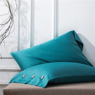 2019新品A类60S长绒棉全棉单品枕套 48cmX74cm/对 孔雀绿