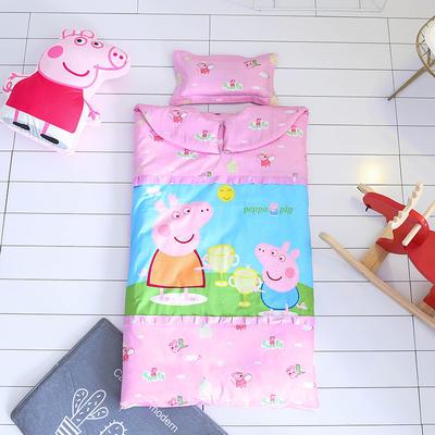 2017儿童睡袋 新增小猪佩奇系列防踢被睡袋  外套无内胆加枕头 65*100 佩佩猪 红