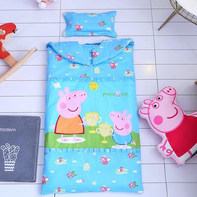 2017儿童睡袋 新增小猪佩奇系列防踢被睡袋  外套无内胆加枕头 65*100 佩佩猪 蓝