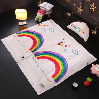 北欧极暖绒INS大版数码印花保暖睡袋    睡袋+厚薄棉花双胆(7斤)含月亮枕 彩虹世界