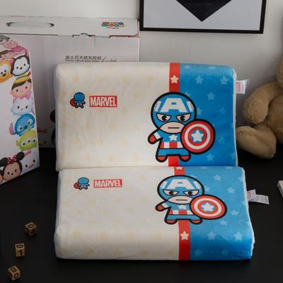 迪士尼天然进口乳胶枕儿童学生卡通A品进口乳胶枕芯 美国队长-白蓝27*44cm