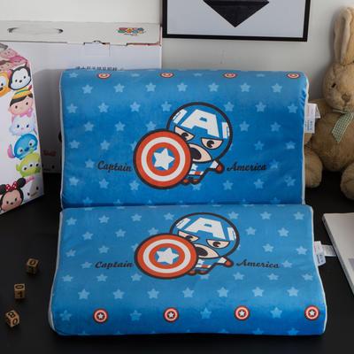 迪士尼天然进口乳胶枕儿童学生卡通A品进口乳胶枕芯 美国队长-蓝27*44cm