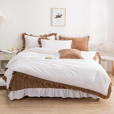 韩版四件套 花边水晶绒保暖四件套 1.8m(6英尺)床 白棕情缘