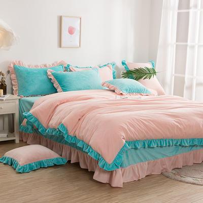 韩版四件套 花边水晶绒保暖四件套 1.8m(6英尺)床 粉红回忆