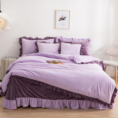 韩版四件套 花边水晶绒保暖四件套 1.8m(6英尺)床 薰衣草