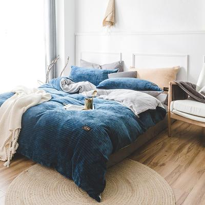 韩国进口保暖面料 发热绒 3D 保暖四件套 1.8m(6英尺)床 宝石蓝