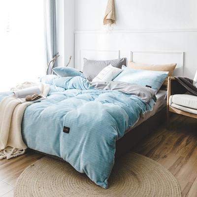 韩国进口保暖面料 发热绒 3D 保暖四件套 1.8m(6英尺)床 船坞蓝