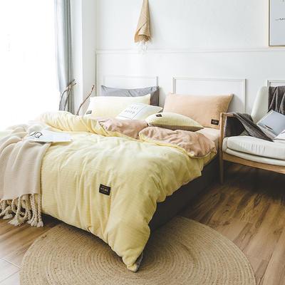 韩国进口保暖面料 发热绒 3D 保暖四件套 1.8m(6英尺)床 鹅软石黄