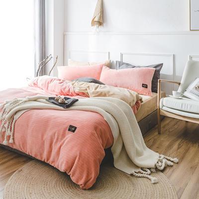 韩国进口保暖面料 发热绒 3D 保暖四件套 1.8m(6英尺)床 蜜桃粉